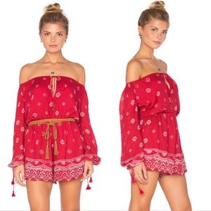 The Jetset Diaries Off Shoulder Red Gypsy Romper
